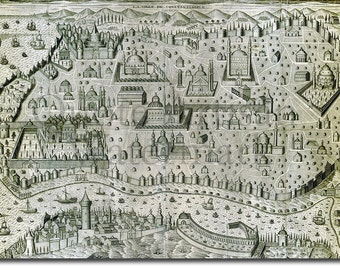 Reproduction of a Vintage Map of Istanbul, Turkey from 1654- Fantastic Photo Poster Print - Old Archive Cartography