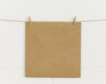 Envelopes 10pk, Square 165 x 165mm, SQ165 Natural Kraft