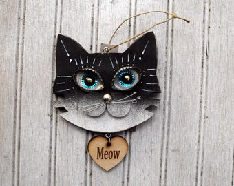 Cat Ornament, Recycled Hand Made Cat Ornament repurposed cat art