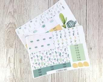 Succulent & Cacti ECLP Weekly Kit; Erin Condren Vertical; Vinyl Planner Stickers; Plant Stickers; Planning Kit; Cactus Stickers