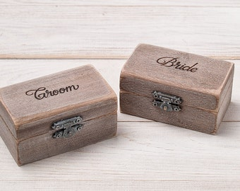 Bride and Groom Ring Box Set Rustic Wooden Ring Boxes Set of 2 His Hers Wedding Ring Box Ring Bearer Pillow Personalised Wedding Ring Box