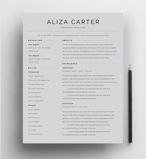 Creative Resume Template Minimalist Resume Resume Design