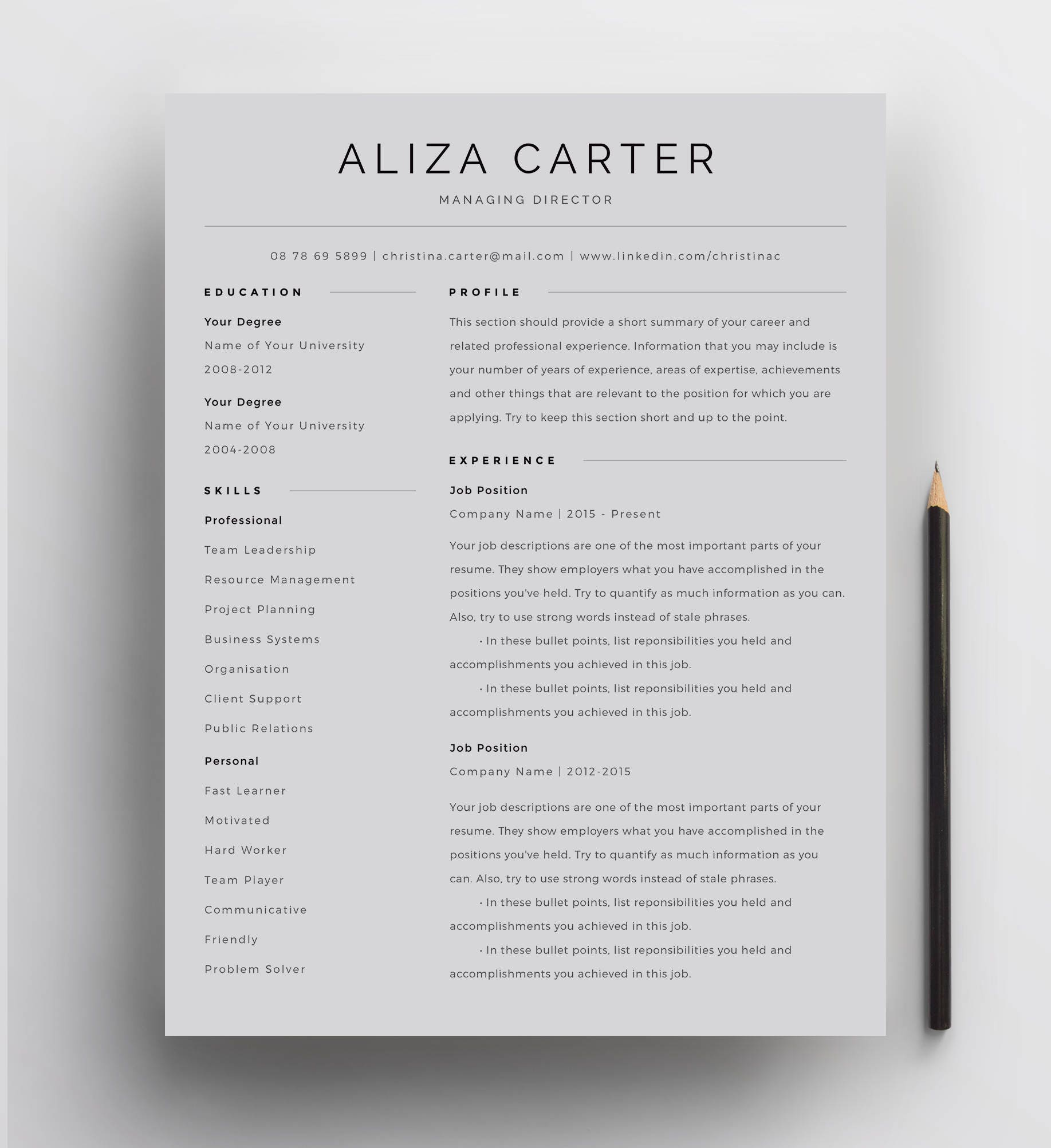 Creative Resume Template Minimalist Resume Resume Design