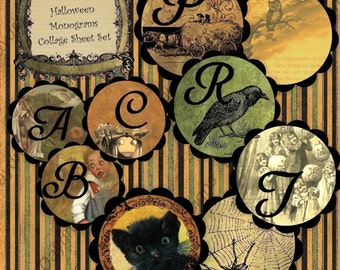 Instant Download Digital Collage Sheet  - Halloween Monogram Alphabet Set 2-inch circle size Printable