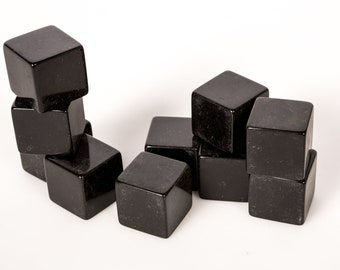 """Vintage LOT 10 Factory Blank CATALIN Cubes Black 3/4"""" (19mm) square by Bakelite"""