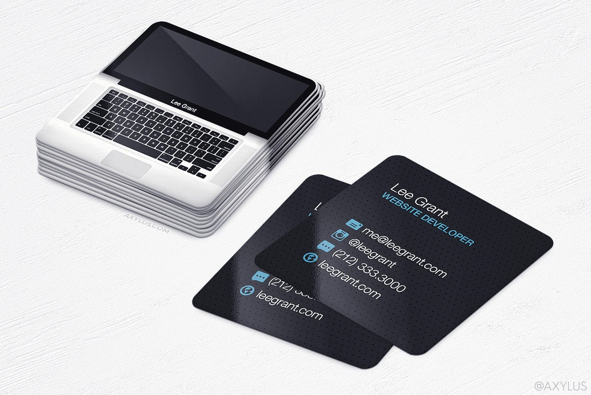 Mini MacBook Business Cards Realistic Laptop Square Cards