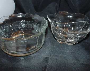 Two Vintage Clear Glass Relish Dish serving bowls Party holiday