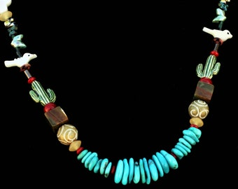 My San Xavier Mission Necklace, featuring Sleeping Beauty Turquoise, Lava, Crystal Quartz and other natural stones 24 Inches Created by Lei