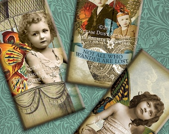 Victorian Steampunk Faerie-Children - 1x2 Inch Domino Tile Images - Digital Collage Sheet - Instant Download and Print