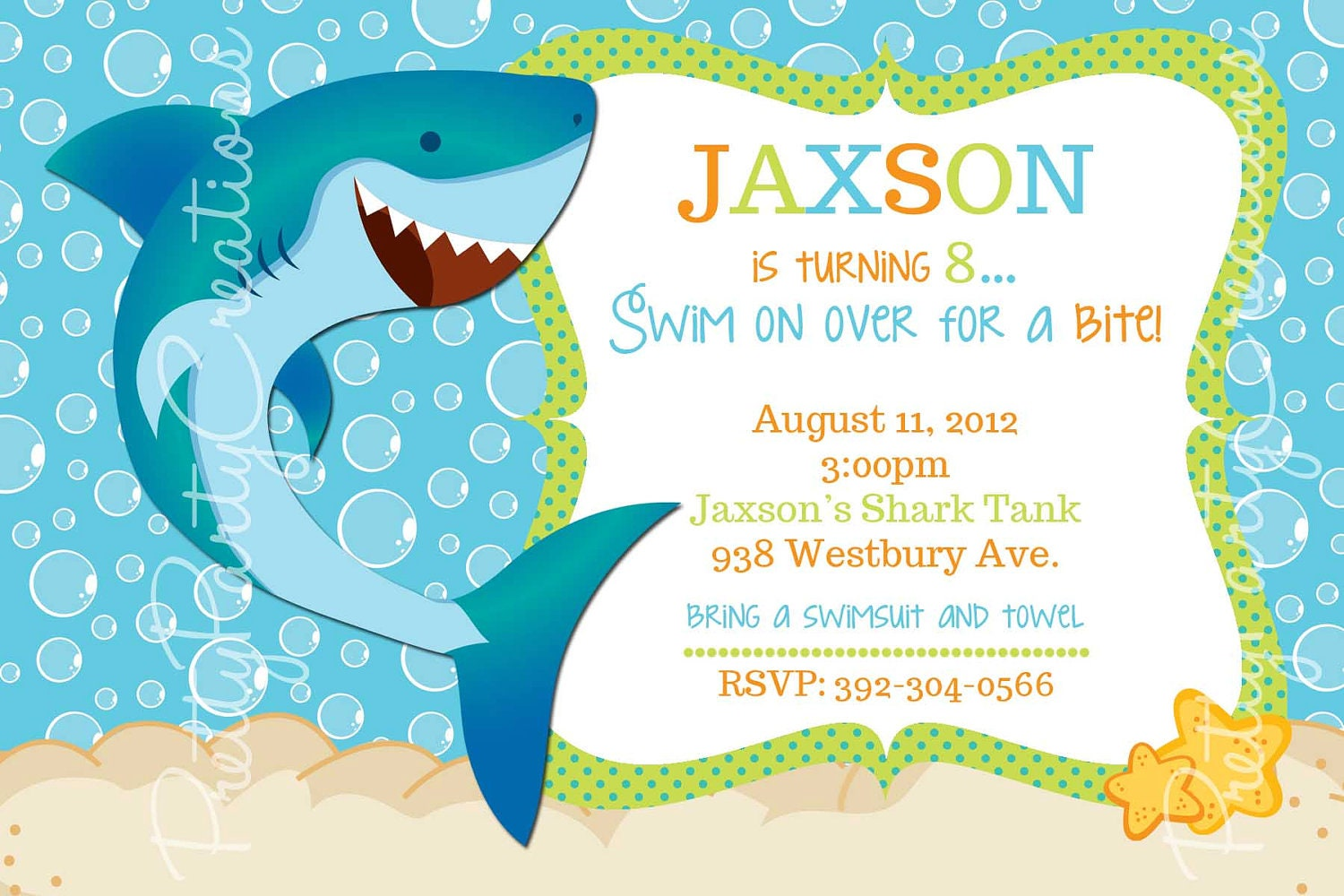 New SHARK invitation you print birthday/pool party IC63