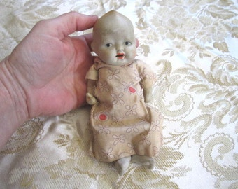 Vintage 1920s/30s Unusual Strung Bisque Baby Doll with Open Mouth