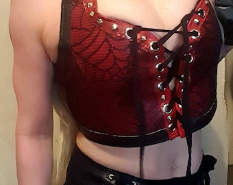 Faux leather red spider web crop top. UK size 8-10