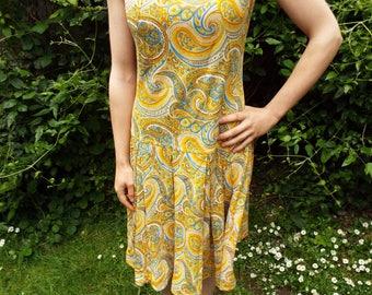 Vintage 60s Dress - Drop Waist Dress - Psychedelic Dress - Mod Vintage Dress - Paisley Dress - Small Vintage Dress