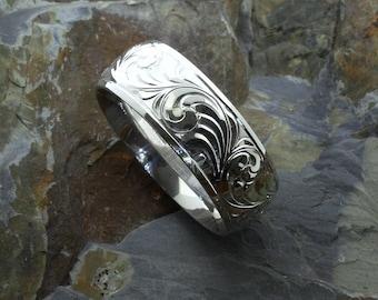 Western wedding rings engraved gold band ring wedding bands