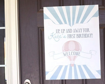Printable sign - Hot air balloon party welcome sign - Birthday - Baby shower - Customizable