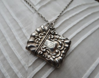 Victorian Sterling Silver Vesta Case and Yellow Stone Long Guard Muff Chain Necklace - NEB016