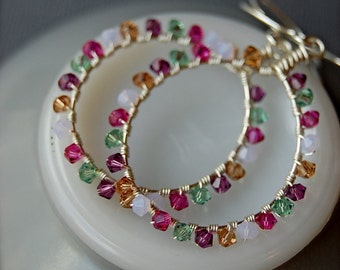 Groovy Hoops - Swarovski and Sterling earrings