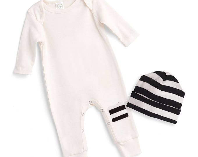 Newborn Coming Home Bodysuit Black White, Newborn Baby Coming Home Bodysuit, Coming Home Knee Patch Romper Minimalist Baby Romper Tesababe