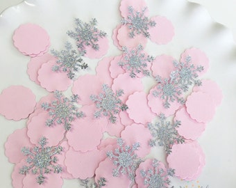 Snowflake Confetti |Glitter Snowflake Party |Snowflake 1st Happy Birthday Decor |Winter Wonderland Party |Pink Gold Glitter |Silver 100CT