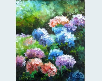 Hydrangea flower art Hydrangea flower painting decor Blue hydrangea art Palette knife painting Floral oil painting on canvas Hydrangea art