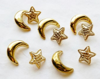 10 Gold moon and Star buttons, 5  Crescent moons, 5 Quilted stars, Moon Star buttons (D 17 )
