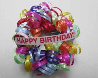 Happy Birthday Wreath - dollhouse miniature 1:12 scale