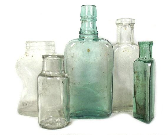 """6"""" Antique & Vintage Set of Glass Bottles and Jars"""