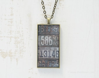 Vintage Nebraska License Plates Necklace | Unique Pendant | Nebraska Jewelry | Antique Bronze | Wearable Art | License Plate