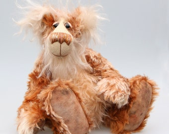 Donaghue, a very handsome and cuddly, beautifully coloured, one of a kind, teddy bear by Barbara-Ann Bears in wonderful batik mohair