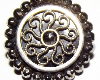 Antique Button ~ 18th Century Cut Steel Button ~  Lacy Metal w/ Cut steel Button ~ Antique Court Steel Metal Button