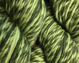 Treetop Green Color Duo Alpaca Merino Wool Yarn 197 yards Worsted Weight Color 206