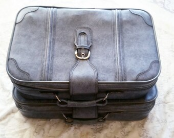 vintage suitcase set, travel luggage, 70s vinyl soft suitcase set, overnight bag, travel case, blue suitcase, faux leather luggage w buckle