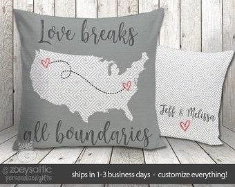 "Indoor / outdoor porch pillow   loves breaks all boundaries 16"" x 16"" custom throw pillow   sweet wedding or anniversary gift  OAP-005"