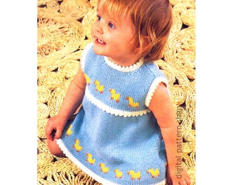 Girls Knitting Pattern, Dress With Ducks, Knit Sleeveless Dress Picot Trim Pattern Toddler PDF Instant Download K103