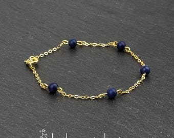 Lapis lazuli 5 beads gemstone bracelet, 14K gold filled