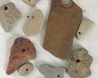 Rocks with holes, beach rocks, lake michigan stones, stones with holes
