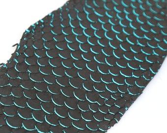 Real dark green metal TILAPIA fish skin