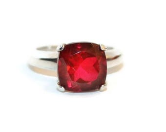 Quartz Ring, Sterling Silver Ring With Red Stone, Cushion Cut Ruby Red Stone