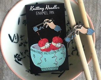 Knitting noodles enamel pin, knitters flair
