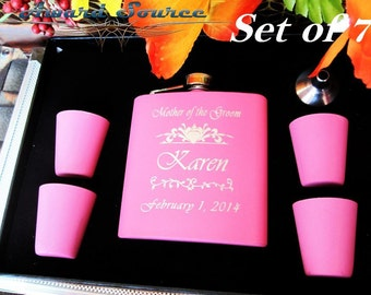 Set of 7 Bridesmaid Gift, Personalized Flask, Engraved Hip Flask, Custom Flask, Custom Leather Flask, Gift for Maid of Honor, Bride Gift