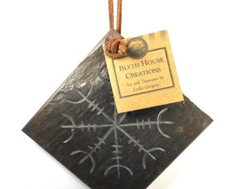 HELM of AWE 4x4 Tile Hanger - Carved Natural Slate Stone - Viking Norse Scandinavian Decoration