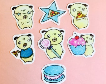 Dog stickers for planners, foodie stickers, pug stickers, dog planner stickers, food planner stickers, journal stickers, sketchbook stickers