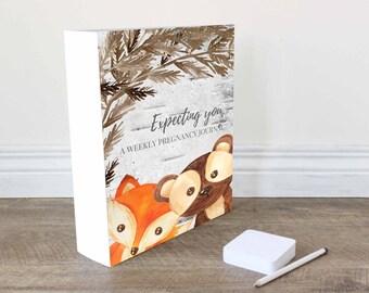 Printable pregnancy journal, printable bump journal, weekly bump journal, print at home pregnancy journal, woodland animal theme