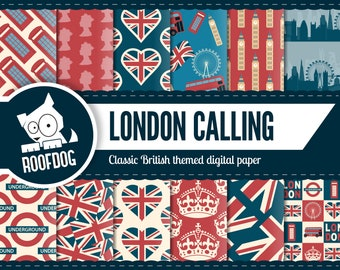 London digital paper | British digital | Union Jack pattern | Union flag | London buildings | England digital paper | Crown | United Kingdom