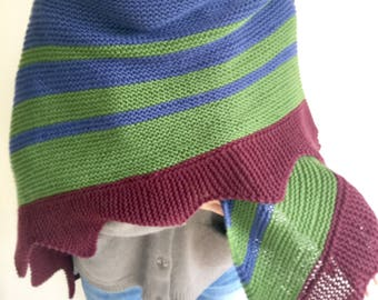 100% Wool XL Hand Knitted Boho Striped Triangle Shawl Neck warmer Knit Scarf Knit Wrap Grey/Rainbow Bue/Green/ Wine Red