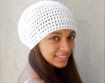 Slouchy Hat Crochet in White, Women, Teen, Men, Unisex, Ready To Ship,,