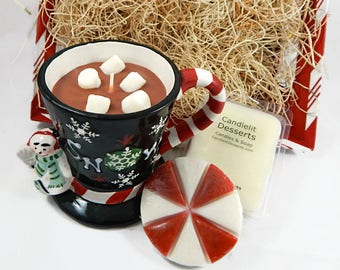 Christmas Gift Basket - Hot Cocoa Candle, Peppermint Soap & Wax Melts