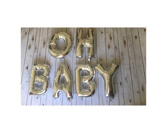 "Rose gold , gold, or silver OH BABY balloon /  create your own banner/ balloon word / word Balloon Banner / 14"" balloon self sealing"