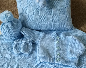 Newborn baby boy knitted set, Newborn baby gift, Baby Boy Bundle, Knitted Baby Clothes, Baby Boy Clothes, Baby Boy Coming Home Outfit