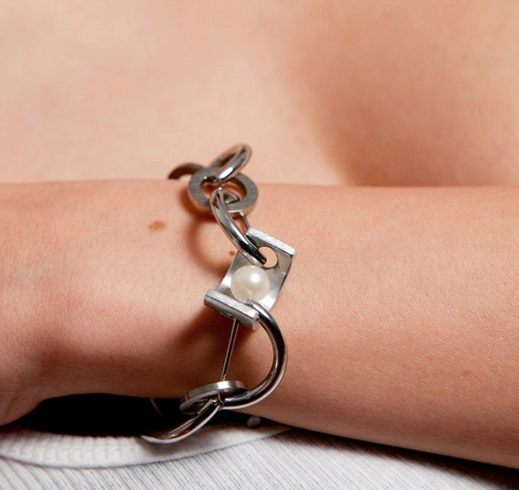 Tropea Bracelet Stainless Steel, Aluminum, Pearl